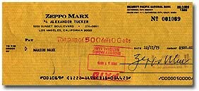 ZEPPO Weekly update MARX Max 80% OFF 1901-1979 Bank Signed Cleared Check Celebrity