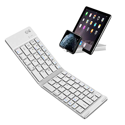 Foldable Bluetooth Keyboard, IKOS Ultra Slim Mini BT Folding Keyboard Compatible for iPhone X 8 7 6S 6 Plus, iPad Mini/Pro/Air, Samsung and All Other Android Smartphones/Tablets and Windows System