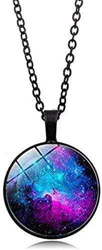 Casco, collar de nebulosa, colgante de astronomía de galaxia, joyería del sistema solar, collar universitario extraatmosférico, joyería de la vía láctea