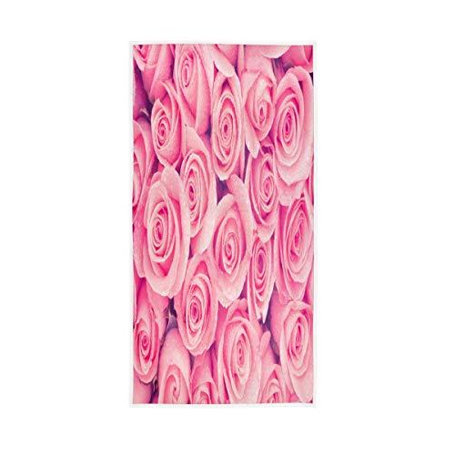 ALAZA Toallas de algodón para el día de San Valentín, diseño de rosas rosas rosas florales para la cara del baño, decoración de baño de 30 x 15 pulgadas