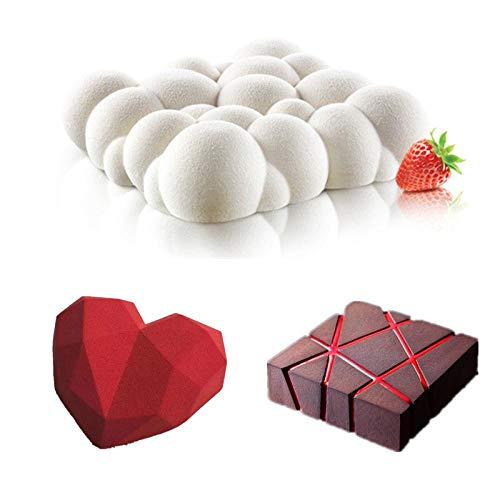 BGREN 3 pièces Art gâteau Moule Pan 3D Grille Bloc Nuages Diamant Coeur Silicone Moule Mousse Silikonowe Chocolat Moule cuisson1-UNE