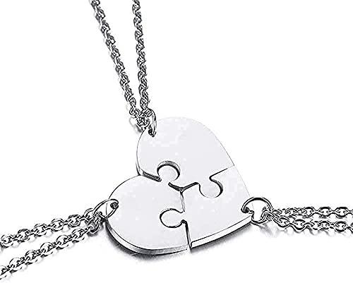 Aluyouqi Co.,ltd Collar Collar Collar Juego De 3 Amigos para Siempre BFF Collar St Steel Puzzle Amistad Colgante Collar Regalo