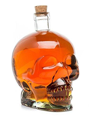 Cráneo de cristal Calavera Botella, cristal Jarra, transparente para alkoholische y no las bebidas alcohólicas, Capacidad 0,75l