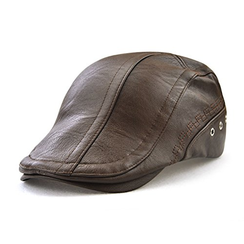 Gudessly Men's Classic Flat Ivy Vintage Newsboy Driving Cap Golf Hunting Cabby Hat Light Brown