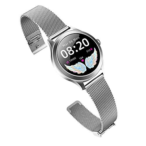BATQER Smartwatch, Reloj Femenino Impermeable De Acero Inoxidable De Toque Completo De Círculo Completo, con Presión Arterial Menstrual, Oxígeno En Sangre, Frecuencia Cardíaca,Plata