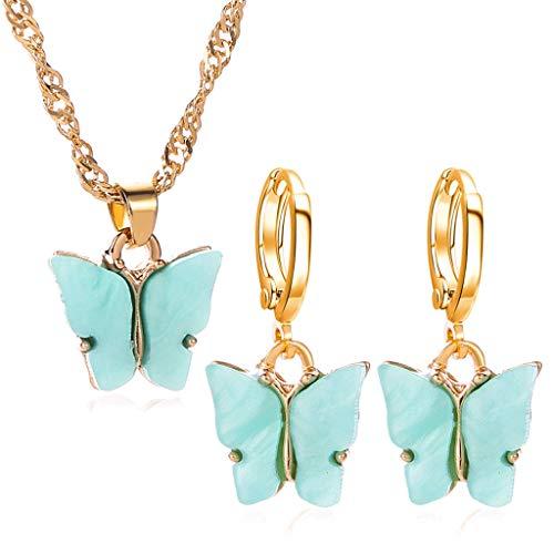 SKYVII Elegante acrílico mariposa colgante collar gota pendientes joyería conjunto para las mujeres