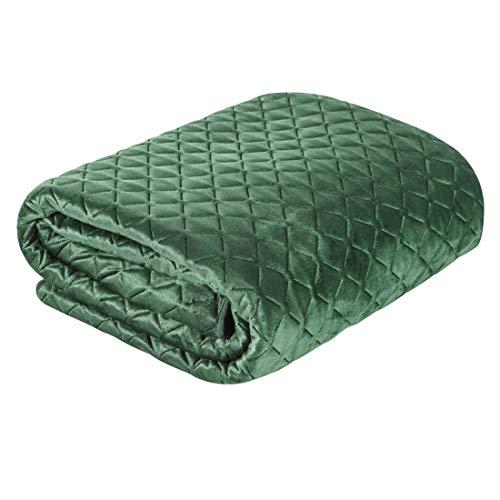 Eurofirany överkast dimon quiltat sängöverkast rutmönster quiltad enfärgad Deke täcke året runt (mörkgrön, 70 x 160 cm)