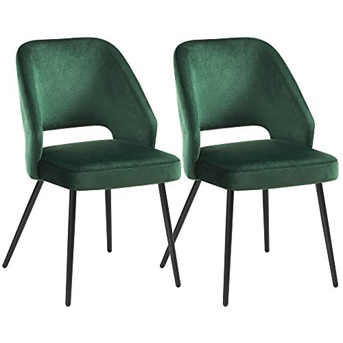 SONGMICS Esszimmerstühle 2er Set, Küchenstühle, Polsterstühle mit Metallbeinen, Wohnzimmerstühle, Loungesessel, Samtbezug, weiche Sitzfläche und Rückenlehne, grün LDC81GN
