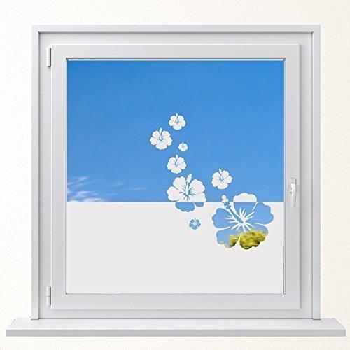 DD Dotzler Design 6416-4 individuelle Sichtschutzfolie Fensterfolie Milchglas 8 x Hibiskus Blüten Blumen