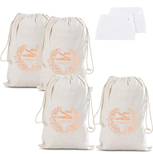 Fisioan Pack of 4 Linen Bread Baguette Storage Bags- Reusable Home Made Bread Keepers Drawstring Bags for Bread Baguette Grocery Veggie Fruit Storaging+2pcs Food Scrappers (4pcs Short)
