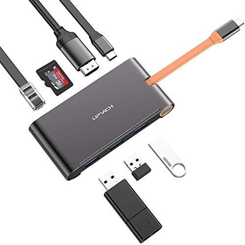 DRAGON SLAY UPVICH USB C Hub 8-en-1 Adaptador Tipo C Estación de Acoplamiento para computadora portátil con 4K HDMI, Ethernet, 3 Puertos USB 3.0, Lector de Tarjetas SD TF para MacBook Pro, Android