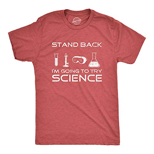 Mens Stand Back I'm Going to Try Science T Shirt Funny Nerdy Tee For Geeks,XX-Large,Red