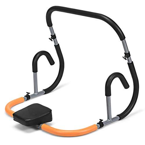 COSTWAY Bauchtrainer Bauchmuskeltrainer AB Trainer Roller mit Kissen für Crunches und Liegestütze