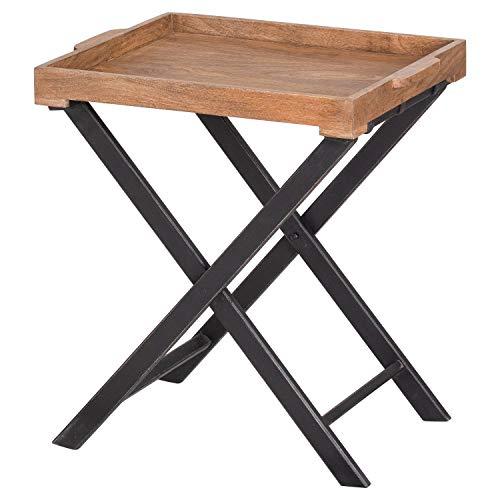 DOWNTON INTERIORS Mesa de sofá grande rústica de madera de mango marrón natural y negro plegable (H21121) ** gama completa de muebles nórdicos a juego disponible**