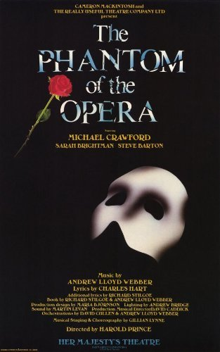 Phantom of the Opera, The Poster Broadway 11 x 17 In - 28cm x 44cm Michael Crawford Sarah Brightman by Pop Culture Graphics