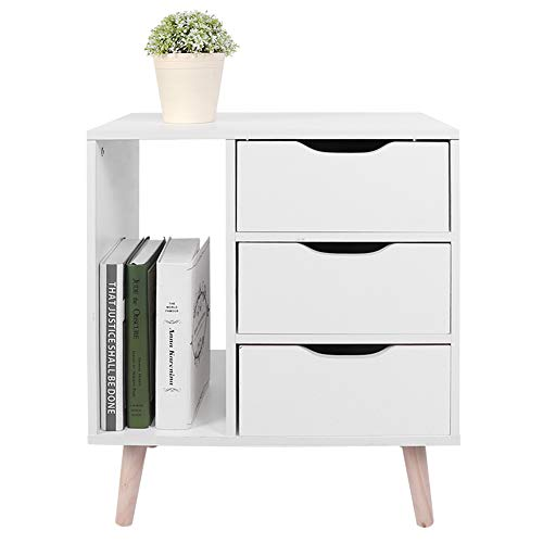 Greensen Bedside Table Wooden Side Table with 3 Layers of Drawers with Open Storage Space Modern Coffee Table Drawer Cabinet Bedroom Furniture 48x30x53cm