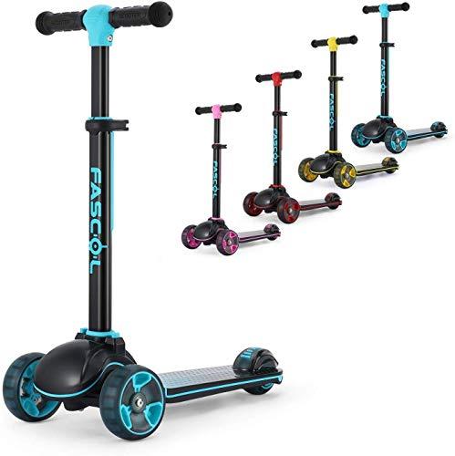Fascol Kinderroller Klappbar Roller Scooter ab 3-12 Jahre Kinderscooter mit LED Räder Tretroller Belastbarkeit bis 60 kg, Türkisgrün