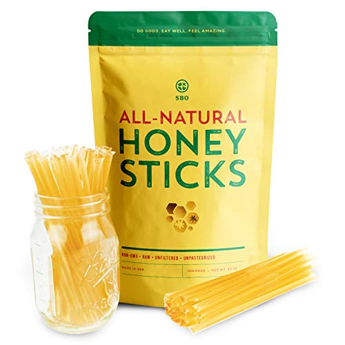 SBO Honey Sticks - 100 Count of Raw Unfiltered Non-GMO Single Serve Pure Honey Stick Packets for Tea and Snacks - Made in the USA