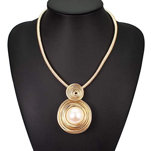 Simulada Collares De Perlas, para Las Mujeres Hechas A Mano De La Cuerda De La Cadena del Babero Collar De La Joyería Collar De La Declaración De Maxi,Oro