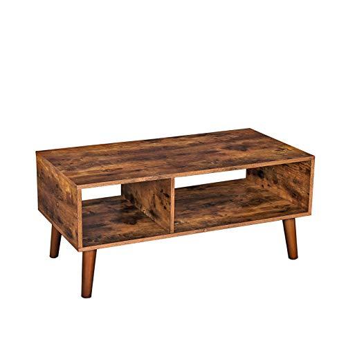 HOOBRO Couchtisch, Kaffeetisch mit großer Ablage, industrieller Wohnzimmertisch, TV-Tisch aus der Mitte des Jahrhunderts, einfach zu montieren, für Wohnzimmer, Foyer, Holzoptik EBF01KF01
