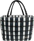 normani Einkaufstasche geflochten mit Henkeln - Tragetasche extra robust Farbe Classic/Thin Grey