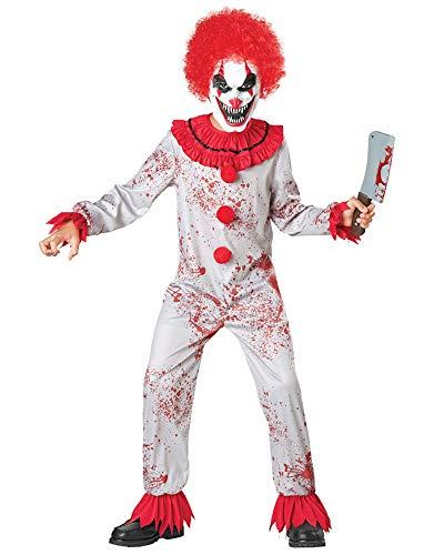 Seasons Scary Circus Clown Pretend Costume (M(8-10)) Red