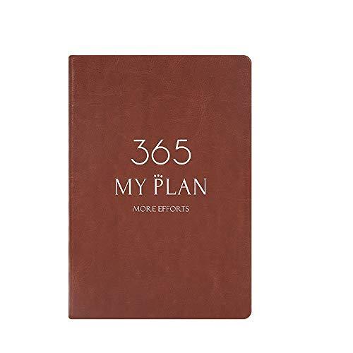 NTCY Notitieboek 365 dagen per dag plan deze kalender notitieboek briefpapier verdikking 400 pagina's kalender Business Notebook 2019 tijdschema bruin