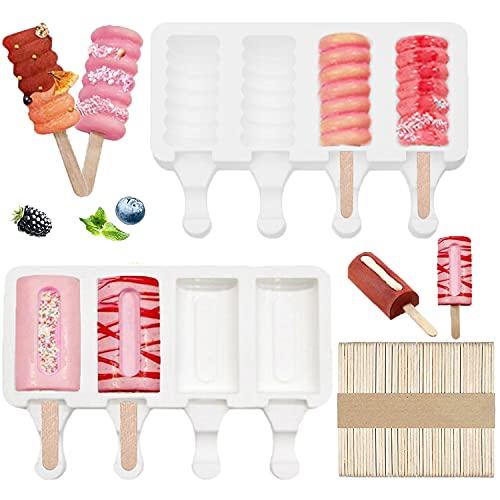 Olywee Lot de 2 moules à glace en silicone à 4 cavités - Sans BPA - Réutilisables - Avec 50 bâtonnets en bois