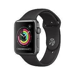 Apple Watch Series 3(GPSモデル)- 42mmスペースグレイアルミニウムケースとブラックスポーツバンド