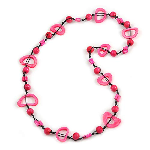 Neon Pink/Deep Pink Round and Oval Wooden Bead Cotton Cord Necklace - 84cm Long