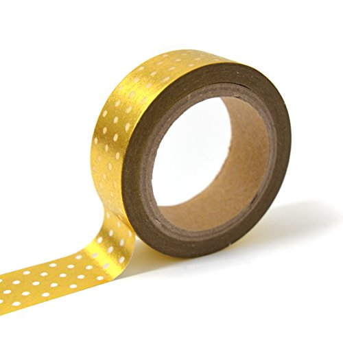 Toga MT105 Masking Tape Pois Washi Tape Or/Blanc 4 x 9 x 5 cm