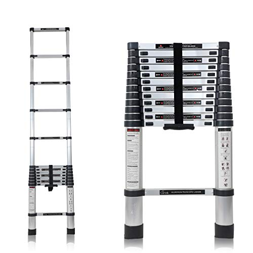 Corvids 3.8m (12.5 ft) Portable & Compact Aluminium Telescopic Ladder, EN131 Certified, 13-Steps Foldable Multipurpose Step Ladder for Home & Outdoor use