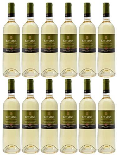 12x 0,75l Retsina Lafazanis | Geharzter Weißwein aus Griechenland | 11% Vol. | Jahrgang 2020