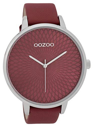 Oozoo Damenuhr mit Lederband 48 MM Dunkelrot/Dunkelrot C9727
