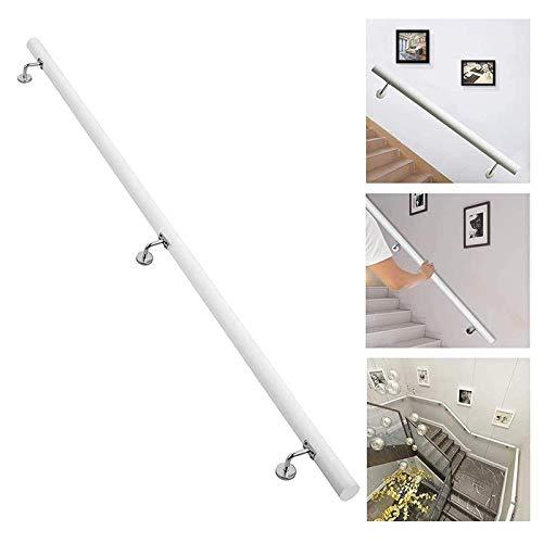 Hogar Stair Handrail Wooden Blanco Pasadores de pasajeros Corredor Sin Deslizamiento Stair Barbos Soporte Rod Niños y Ancianos Kit de Barras para el Hospital (Size : 18ft)
