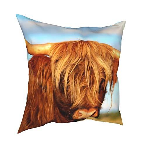 Fundas de almohada escocesas de vaca en el campo de las tierras altas, 45 x 45 cm – impresión de doble cara, fundas de almohada decorativas cuadradas para sofá, cama, coche
