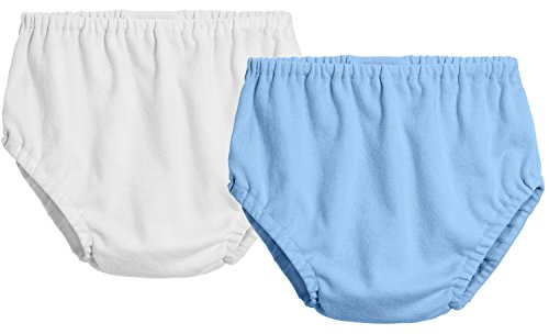 City Threads 2-Pack Baby Girls' and Baby Boys' Unisex Diaper Covers Bloomers Soft Cotton, White/Bright Lt Blue, 3T