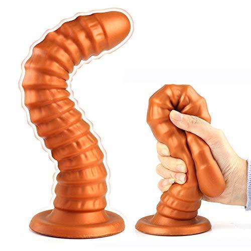 Jinqian 2020 Realistische Dildos Penis flexibel Silikon Analplugs Butt Plug Dildo gebogener Anal-Dildo mit Saugfuß Saugnapf Sexspielzeug für Frauen Anal Anfänger (Gold XL)