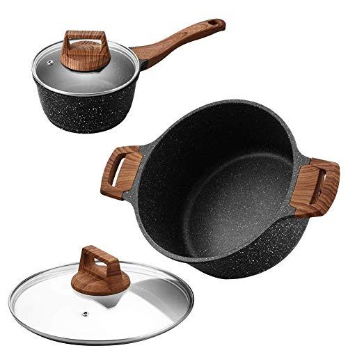 ESLITE LIFE 5 Quart Nonstick Soup Pot and 1.5 Quart Saucepan with Lid, Induction Compatible