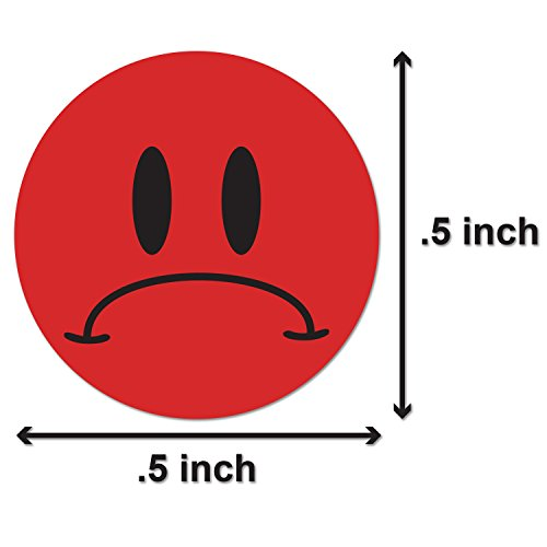 "Unhappy Sad Frowny Face Circle Round Labels Self Adhesive Stickers (Red Black / .5"") - 300 Labels per Package Photo #2"