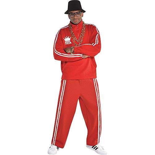 amscan Men Old School Rapper Costume, Red, One Size