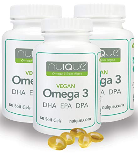 nuIQue - Award Winning Pure Algae Derived, Non-Fish, Plant-based, Ecological, Toxin Free, Vegan Omega 3 EPA, DHA & DPA Oil - 60 Softgel Capsules