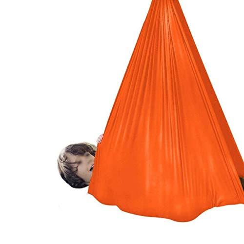 LHHL Therapie-Schaukel für den Innenbereich, verstellbar, ideal für Kinder oder Erwachsene mit Aspergers und sensorischer Integration (Farbe: Orange, Größe: 150 x 280 cm)