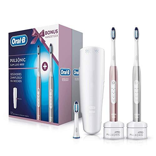 Oral-B Pulsonic Slim Luxe 4900 Elektrische Schallzahnbürste, mit 2. Handstück und Reise-Etui, für gesünderes Zahnfleisch in 4 Wochen, roségold und platin