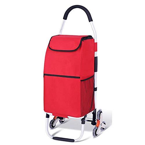 SCJ Folding Aluminium Hand TruckSack Trolley 110 Lb / 50 kg Capacity Heavy-Duty Luggage Trolley Cart -red