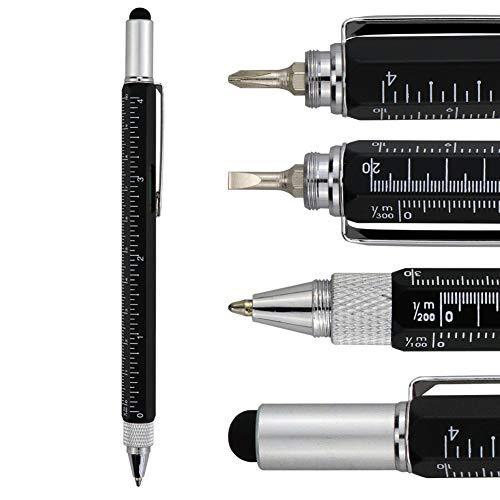 HeTaoCat Metal Multi tool Pen 6-in-1 Stylus Pen - With Screwdriver, Phillips Screwdriver, Flathead Bit Slotted Screwdriver, Ballpoint Pen Black ink, Stylus pen, Bubble Level and Ruler (Black)