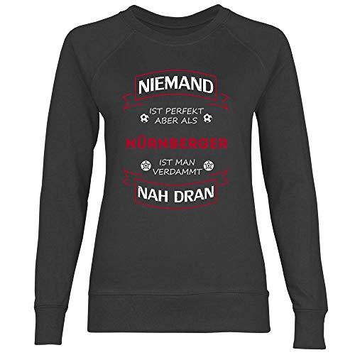 wowshirt Damen Sweatshirt Fußball Trikot Nürnberger Nürnberg, Größe:XS, Farbe:Black