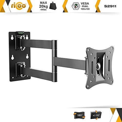 RICOO Monitor Wand-Halterung Schwenkbar Neigbar S2911 Monitor-Halter Wandhalterung-TV LCD LED Wandhalter fuer Flach-Bildschirm PC-Monitor 43-49-54-61-68cm / 17′ 19′ 22′ 24′ 27′ Zoll | VESA max. 100 x 100 universell | Wandabstand nur 68 mm | - 2
