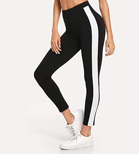 Shocknshop High Waisted Sexy Stretch Wide Stripe Ankle-Length Skinny Bottoms Women Mid Waist Casual Leggings (LEG38)