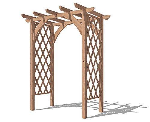 Dunster House Pergola Lattice Trellis Arch Wooden Garden Plant Frame - Jasmine